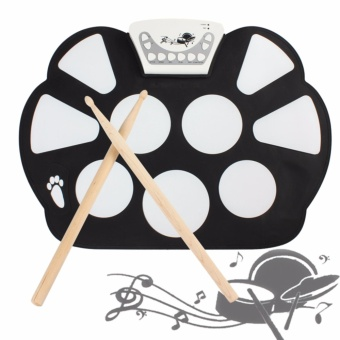 Media, Music Books Electronic Drums W758 Digital Portable 9 PadSilicone Electronic Roll-Up Drum Kit - intl