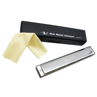 Media, Music Books Others Tremolo Harmonica Mouth Organ Key Of D 24 Double Holes With 48 Reeds Free Reed Wind Instrument - intl