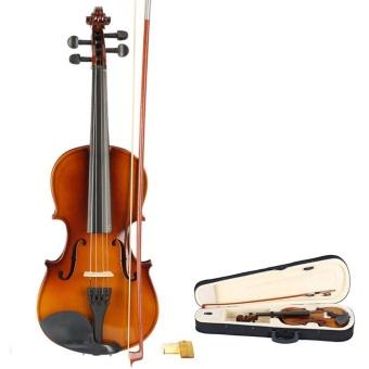 New 3/4 Acoustic Violin + Case + Bow + Rosin Natural - intl