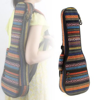 Portable 23 Inch Ukulele Backpack Small Guitar Bag with Soft Pad Cotton Thickening Folk Style - intl