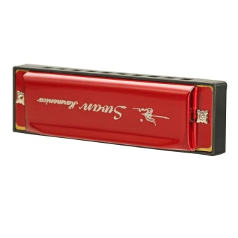 Swan 10 Holes 20 Scales Laser Colorful Plastic Body Harmonica Red - intl