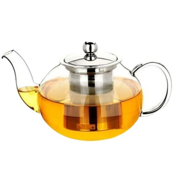 800ml Clear Glass Teapot High Temperature Resistant Loose LeafFlower Tea Pot with Stainless Steel Infuser Strainer Lid - intl