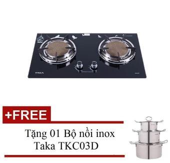 Bếp gas âm hồng ngoại Taka BG02A + Tặng 01 Bộ nồi inox Taka TKC03D
