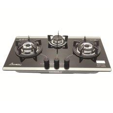 Bếp gas âm kính 3 lò Apex APB8802 (Đen)