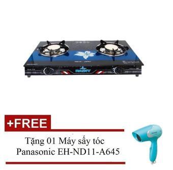 Bếp gas đôi hồng ngoại mặt kính Rainy 2016 (Đen) + Tặng 01 Máy sấy tóc Panasonic EH-ND11-A645 (Xanh dương)
