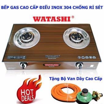 Bếp Gas Đôi Mặt Kính Cường Lực Cao Cấp Điếu INOX 304 SEN ĐỒNG Watashi WA-468 Tặng Van Dây