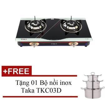 Bếp gas dương Taka TK-608B + Tặng 01 Bộ nồi inox Taka TKC03D