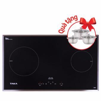 Bếp từ Taka I2ND tặng Bộ nồi Inox Taka TKC03C(Đen)