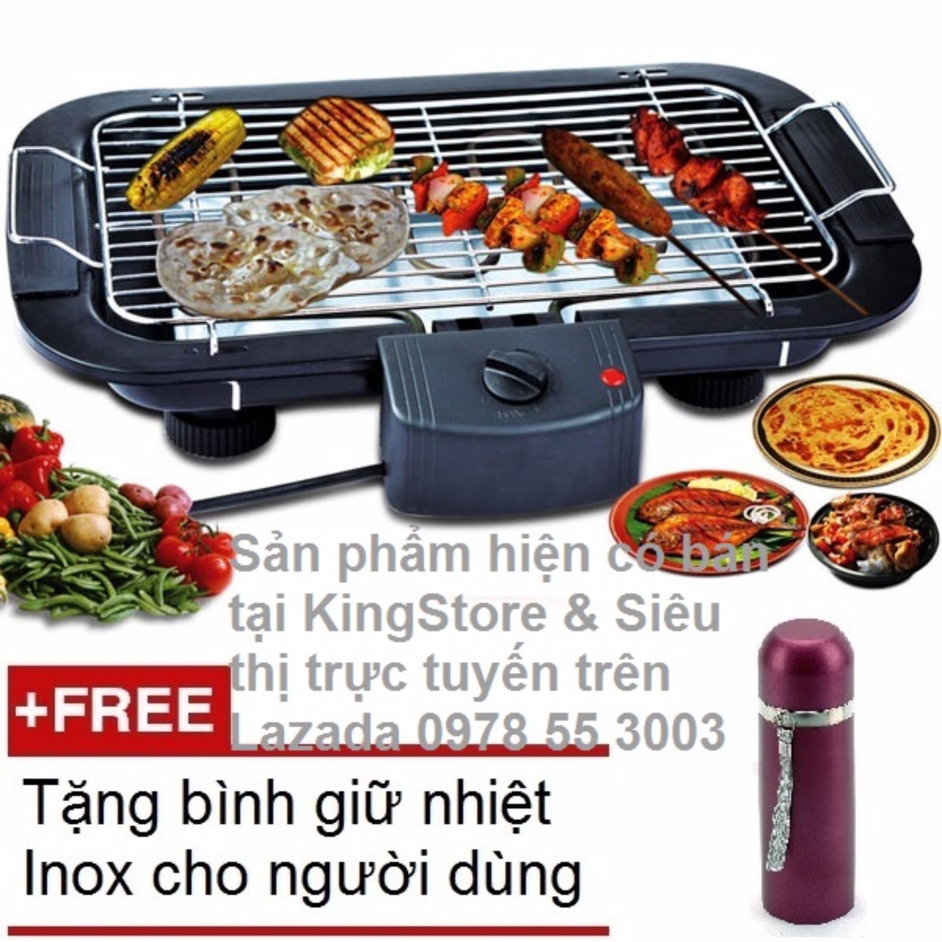 Bếp / Vỉ nướng điện cao cấp không khói Barbecue Grill 2000W + Tặng kèm bình giữ nhiệt Inox