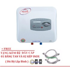 Bình Nước Nóng Chống Giật Rossi R20Ti 20 lít (Trắng) Free 02 dây cấp inox, 02 Kép inox, 1 băng tan đủ bộ lắp bình