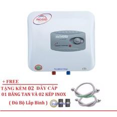 Bình Nước Nóng Chống Giật Rossi R30Ti 30 lít (Trắng) Free 02 dây cấp inox, 02 Kép inox, 1 băng tan đủ bộ lắp bình