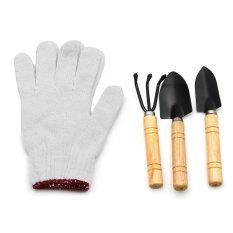 Bộ 03 dụng cụ mini + 01 găng tay vải làm vườn tiện ích