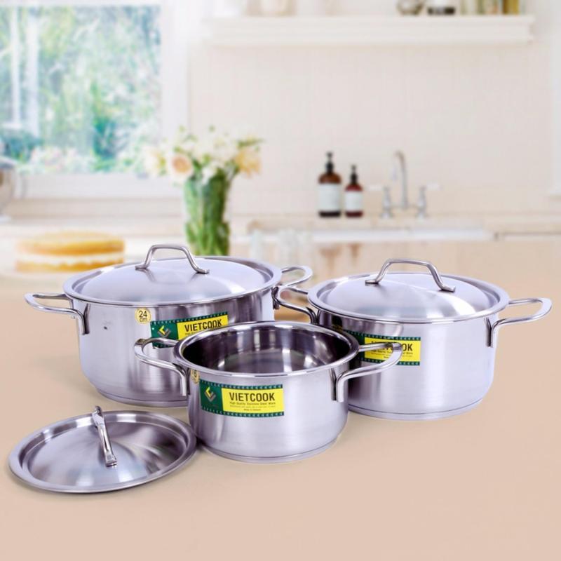 Bộ 3 nồi Inox 3 đáy Vietcook dùng cho mọi loại bếp