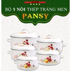 Bộ 5 Nồi Tráng Men Ceramic Cao Cấp Hoa Pansy 2018