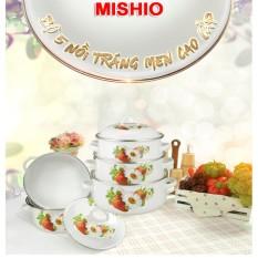 Bộ 5 Nồi Tráng Men Ceramic Cao Cấp Mishio 2018