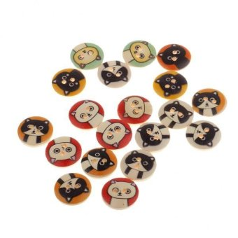 BolehDeals 100Pieces Cat Pattern Wooden Round 2 Holes Buttons forSewing Crafts 15mm - intl