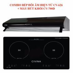 COMBO Bếp đôi điện từ âm Civina CV-626 + Máy hút mùi Civina CV-700D