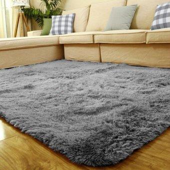 Fluffy Anti-skid Shaggy Area Rug Home Bedroom Floor Mat(Silver Grey)