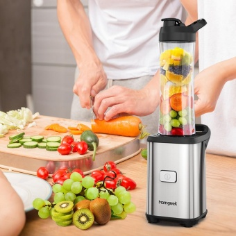 Homgeek Mini 350W Fruit and Vegetable Single Serve Juice Extractor Personal Smoothie Blender Detachable Food Processor Vegetable Fruits Blender With 2 BPA-Free Travel Sport Cups 220-240V - intl