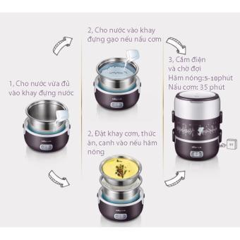 Hộp cơm cắm điện cao cấp inox 3 ngăn hút chân không Bear DFH - S2123