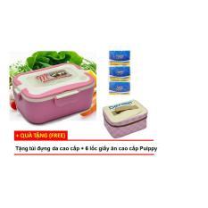 Hộp cơm điện hâm nóng Chefman lòng inox tháo rời (Hồng) + Tặng túi đựng da cao cấp + 6 lốc giấy ăn cao cấp Pulppy