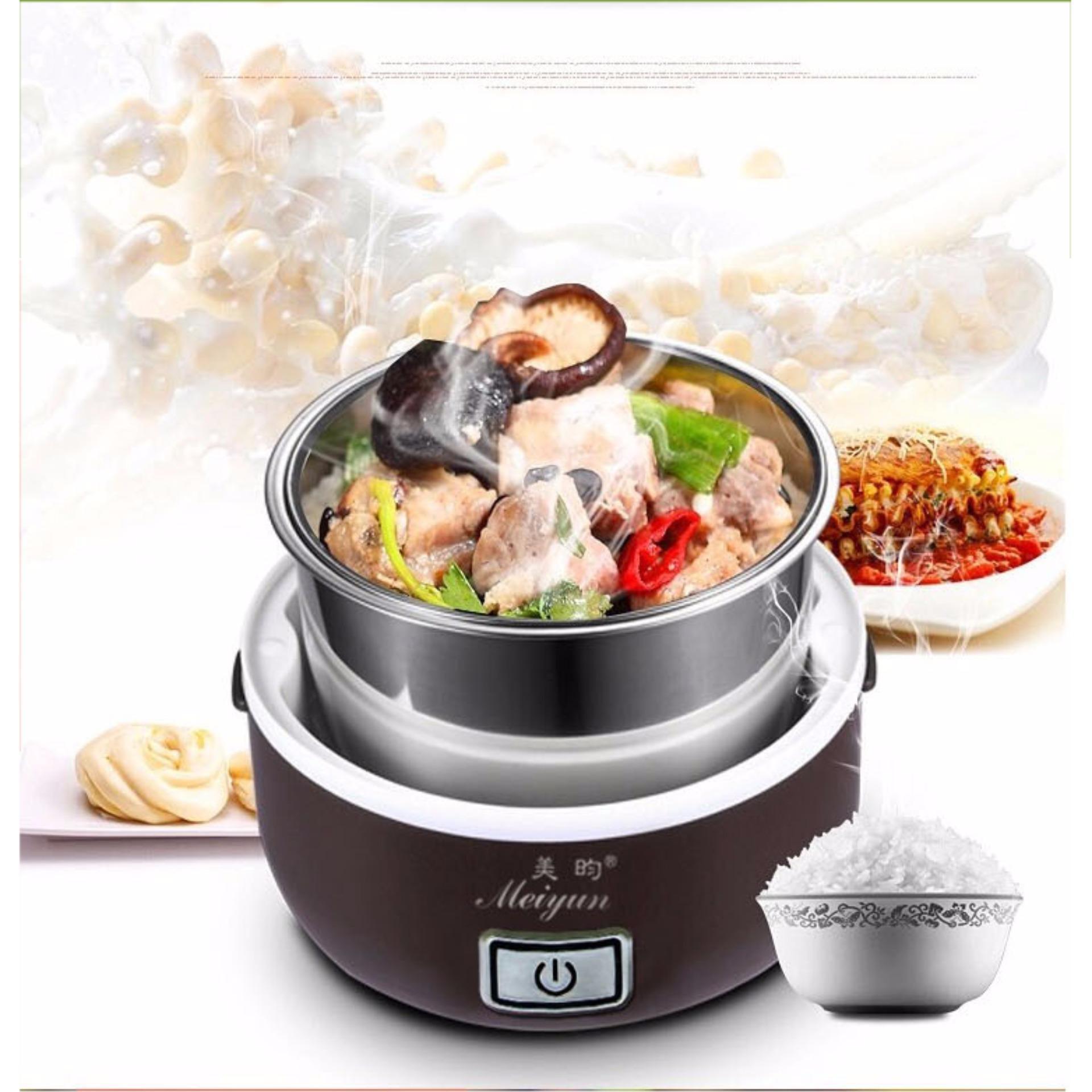 Hộp cơm hâm nóng cắm điện 2 tầng inox Meiyun (nâu) + tặng bô thìa đũa inox