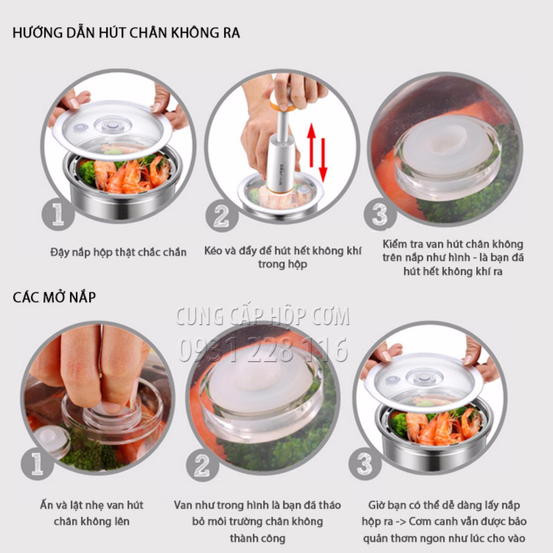 Hộp cơm hâm nóng cao cấp hút chân không DFH-S2017 (Trắng)