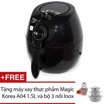 Lò nướng chân không đa năng Magic Korea A70-New (Đen) + Tặng máy xay thực phẩm Magic Korea A04 1.5L (Trắng) và Bộ 3 nồi Inox