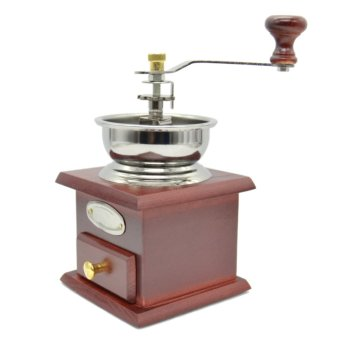 Manual Coffee Grinder Adjustable Wood Iron Antique