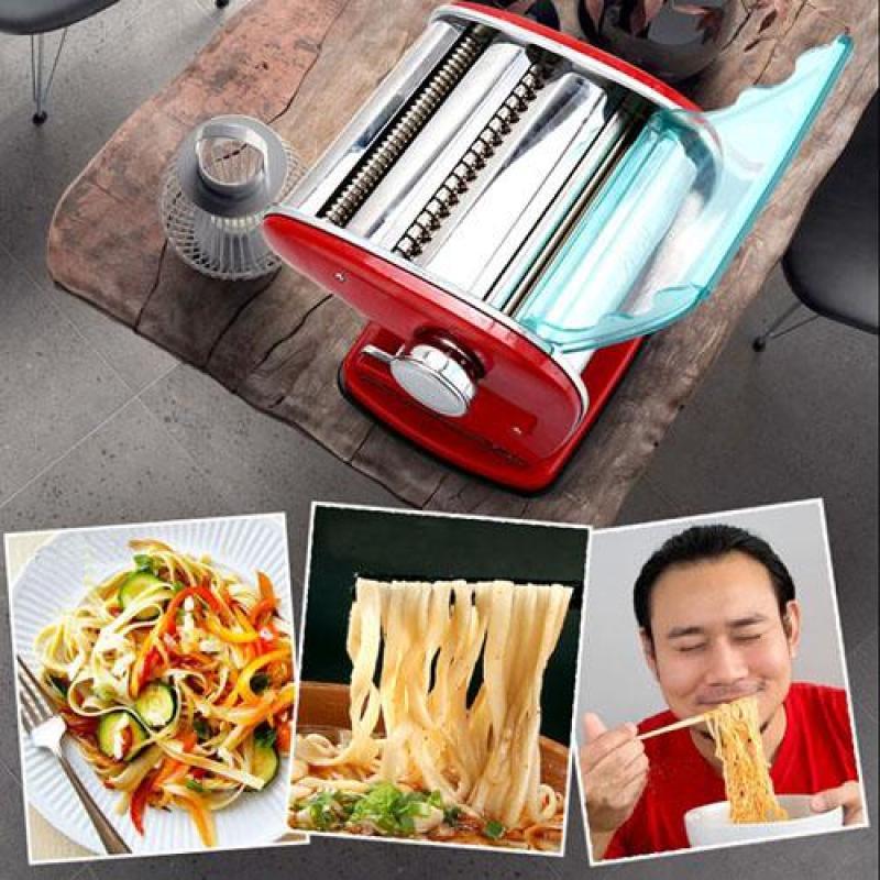 Máy cán mì quay tay gia đình - 2 lưỡi - màu đỏ- Pasta maker (Hàng cao cấp)