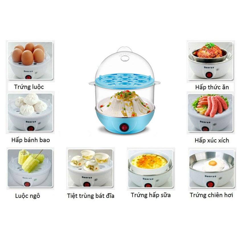 Máy hấp trứng hấp thức ăn 2 tầng đa năng cao cấp (Xanh)