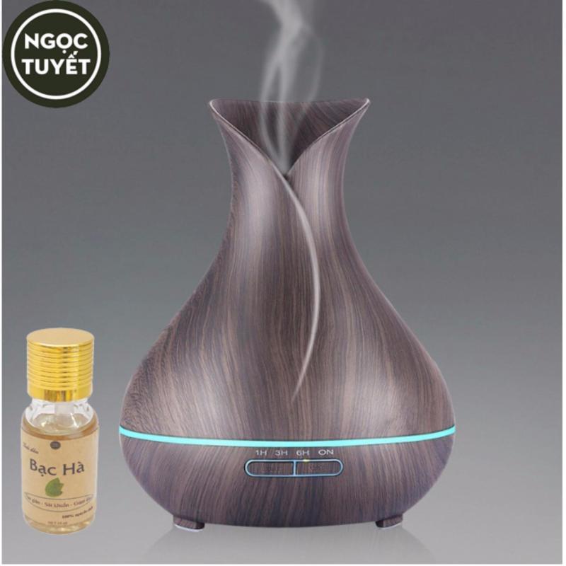 Bảng giá Máy khuếch tinh dầu dung tích 400ml phun 8- 10 tiếng tạo ẩm, tạo hươn tặng 10ml tinh dầu bạc hà Ngọc Tuyết