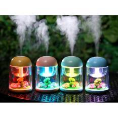 Máy phun sương, xông tinh dầu tạo độ ẩm hủ trong suốt LED 7 màu cao cấp (Xanh)
