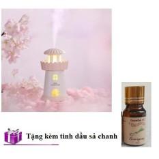Máy xông tinh dầu đuổi côn trùng kiêm đèn ngủ Lighthouse Humidifer tặng kèm tinh dầu sả chanh _ T-Shop VN
