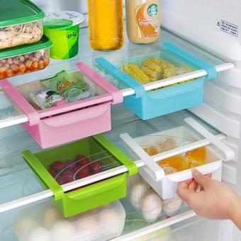 Multi-use Sliding Refrigerator Freezer Pantry Storage OrganizerBins Container Space-saving Fridge Storage Box Holder Kitchen Tool- intl