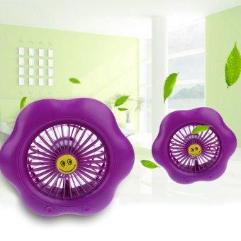 Portable Mini LED Mute Desk USB Fan(Purple) - intl