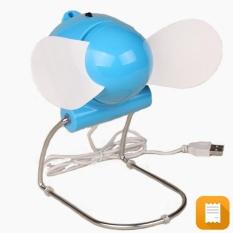 Quạt USB Con Cóc cánh mềm an toàn có chân đứng (Xanh)