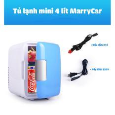 Tủ lạnh mini 2 chế độ nóng lạnh 4 lít MarryCar MR-TL4L có đầu cắm cho gia đình và ô tô