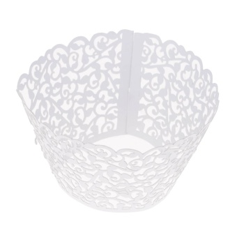 Whyus-13Pcs/Set Party Hollow Out Flower Cupcake Wrap Wrapper PaperMold (White) - intl