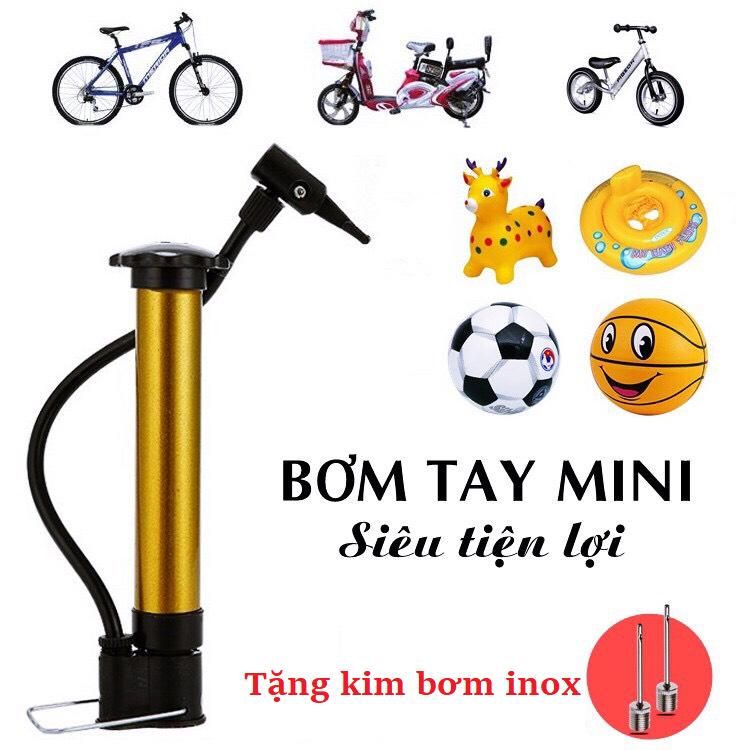 Ống bơm mini cầm tay đa năng bơm bóng đá bóng rổ bóng chuyền… xe đạp, phao, nhỏ gọn dễ mang (TẶNG 1 kim bơm inox)