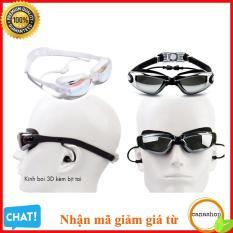 Kính bơi chống UV tặng nhét tai kẹp mũi , Mắt Kiếng Đi Biển , Kính Bơi Nam Nữ