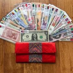 bộ quà tặng 28 nước 52 tờ của các quốc gia kèm túi gấm nhung đỏ cực kì may mắn tết 2019