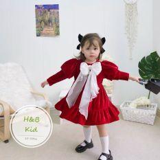 Váy nhung đỏ nơ voan trắng