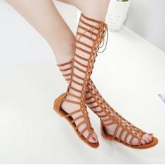 Sandal dây chiến binh màu da bò đế trệt ôm chân GCC0102