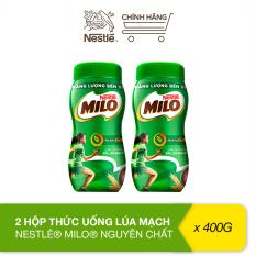 Sữa Milo lúa mạch Nestlé nguyên chất bộ 2 hộp 400g (hũ nhựa)