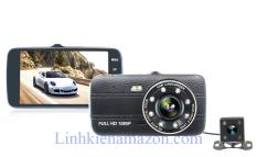 Camera hành trình vehicle blackbox DVR 1080p 4.0 inch màn hình IPS có cam lùi.