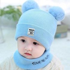 Combo Bộ mũ len và khăn ống quàng cổ cho bé yêu kiểu dáng Hàn Quốc