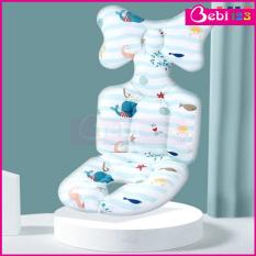 Tấm đệm lót xe đẩy cotton cao cấp Kakiblin mặt lưới thoáng khí và cố định đầu cho bé