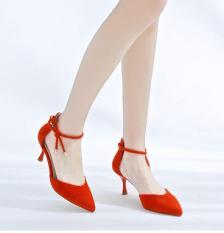 Giày sandal bít mũi nhung cột nơ nhọn 7p Rosa