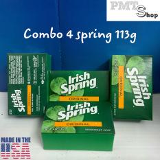 Combo 4 cục xà bông Irish Spring Original size lớn 113g x 4 diệt khuẩn, khử mùi – Mỹ